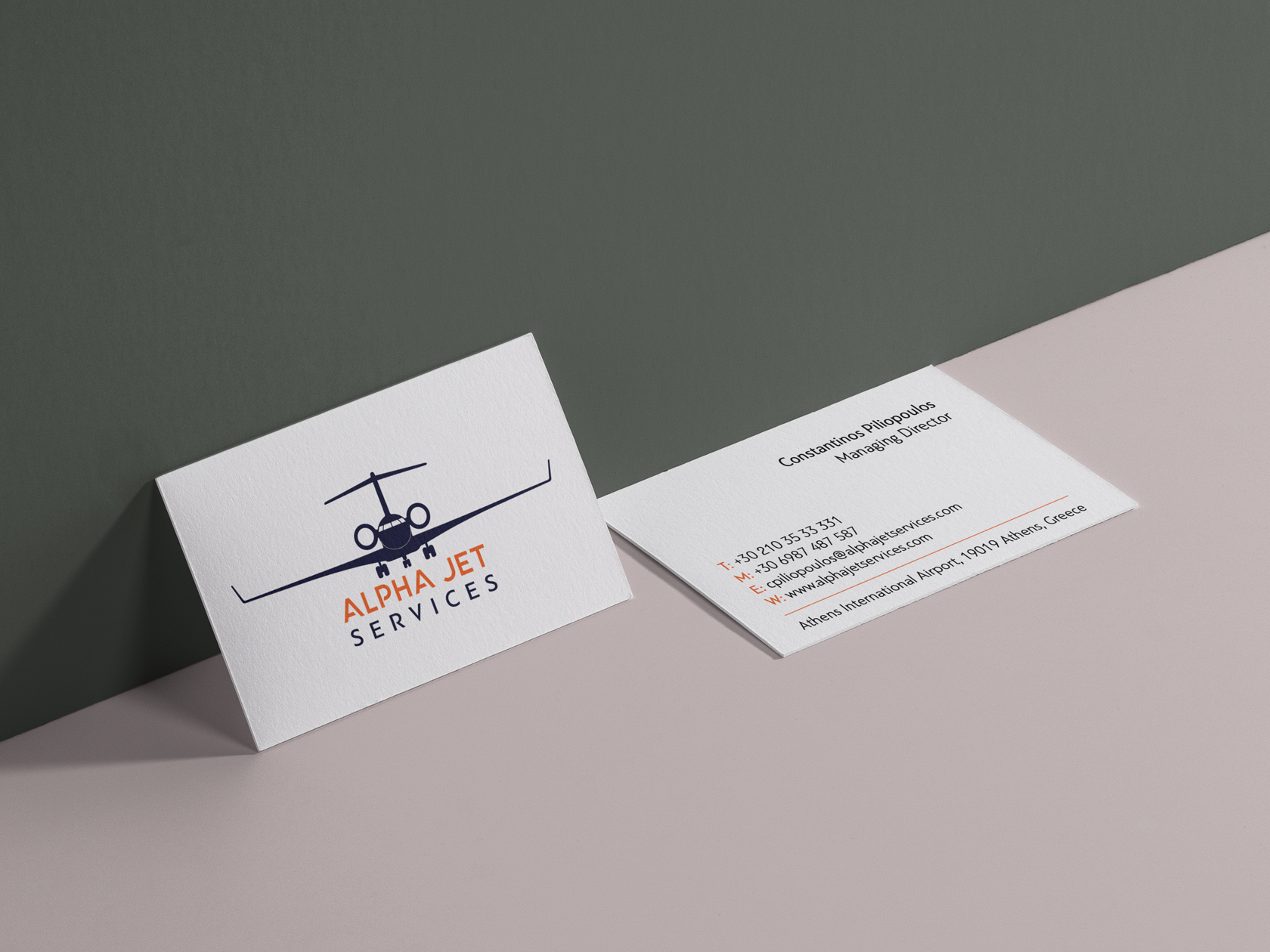Alphajet Services embossed cards