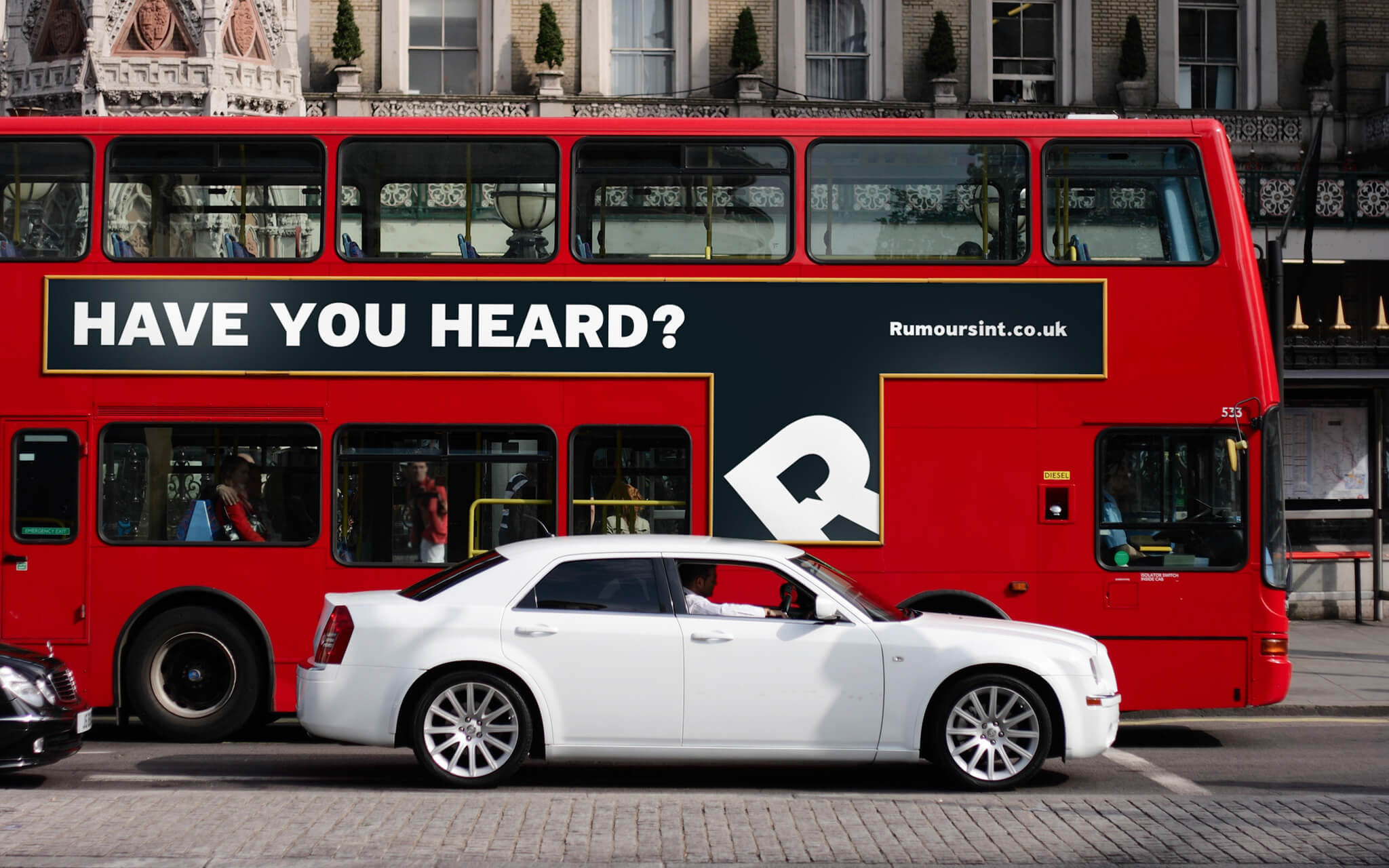 Rumours International consulting london bus ad